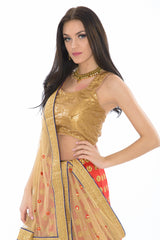 Scarlet and Gold Sleeveless Lehenga Set