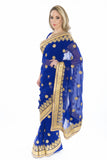 Regina Royal Blue Pre-Stitched Ready-Made Partywear Sari