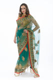 Festive Green Net Indian Wedding PartyWear Sari