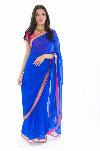 Electric Blue With Pink Trim Ready-Made Sari