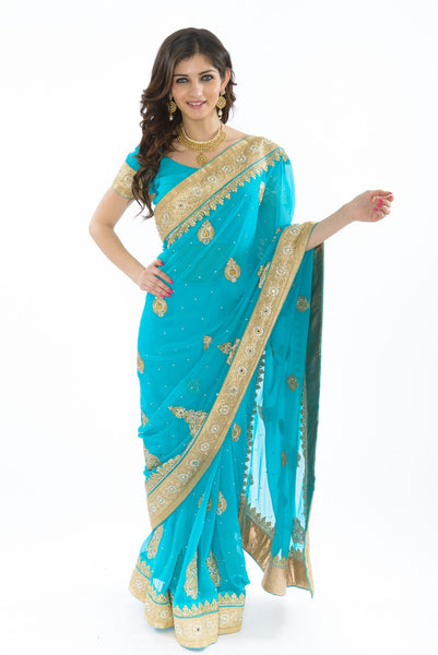 Gold Accented Sky Blue Ready-Made Sari