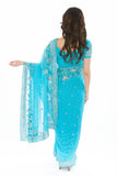 Alluring Blue Readymade Pre-Pleated Sari