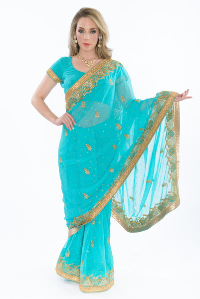 Turquoise With Gold Border Ready-Made Sari