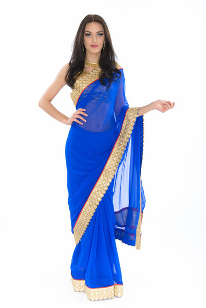 Elegant Classy Royal Blue Pre-Stitched Ready-Made Partywear Sari