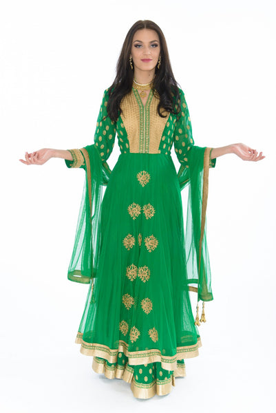 Beautiful in Green and Gold Indo-Western Anarkali