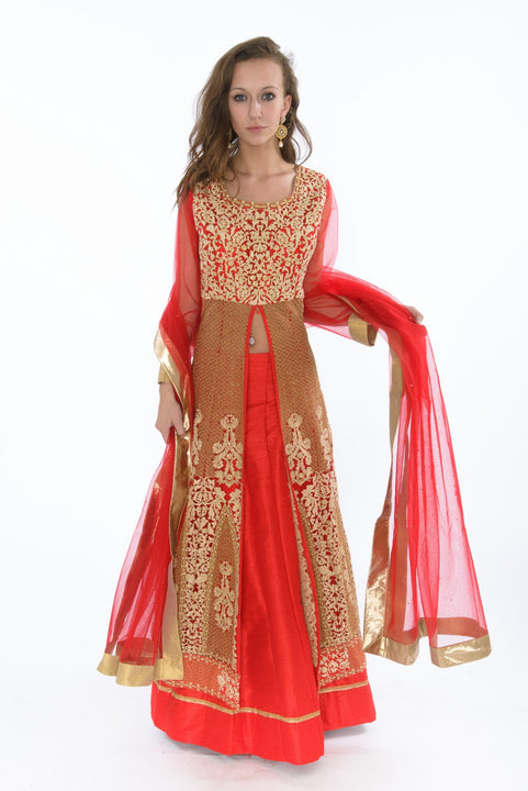 Imperial Crimson and Bronze Embroidered Indo-Western Style Lehenga Gown