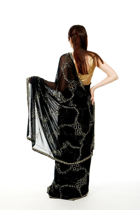 Lady of the Night Black Sari