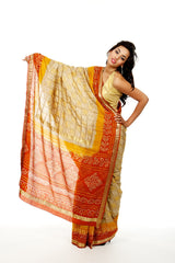 Silk Bandhani Print Wedding Sari (Saree)