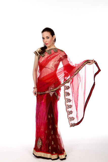 Sizzling Siren - Red Net Lehenga Saree