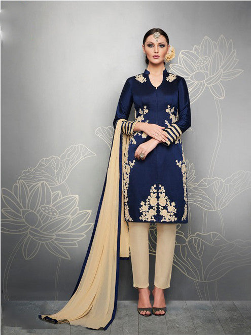 Contemporary Gold and Royal Blue Anarkali