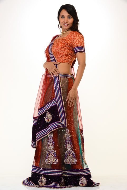 Trendy Orange Blue Lehenga Choli