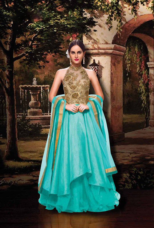 SALE -  Cool Blue Waters Sleeveless Long Anarkali Indo-Western Gown