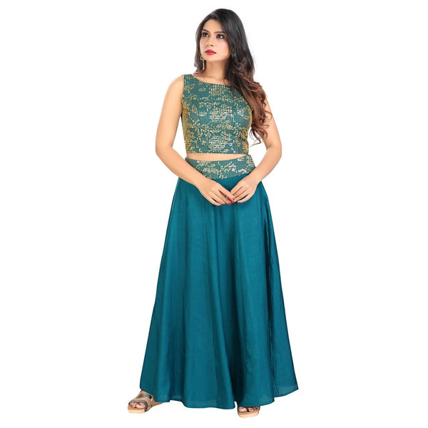Perfectly Peacock Lightweight Lehenga with Long Sleeveless Blouse  - VFCT-22-Blue