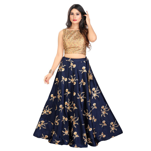 Modern Navy Blue and Gold Trendy Crop Top Style Lehenga - 9500
