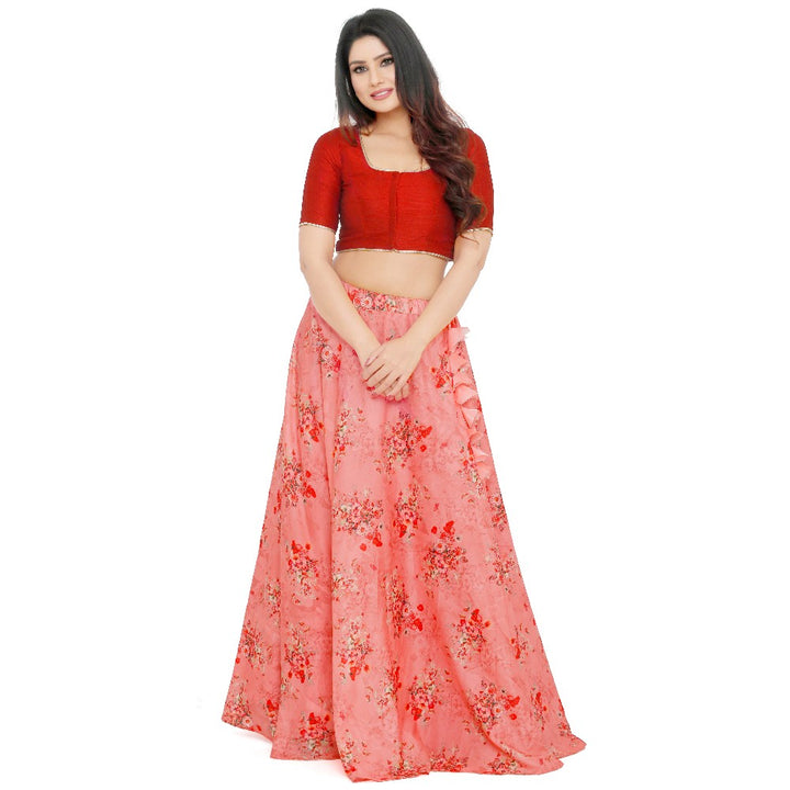0fed5dabb1 Trendy Red and Peach Crop Top & Long Skirt Style Lehenga Choli click to zoom