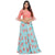 Trendy Peach and Blue Floral Crop Top & Long Skirt Style Lehenga Choli