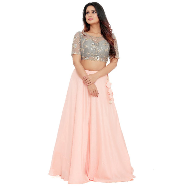 Romantic Blush Pink Crop Top & Skirt Style Lehenga Choli