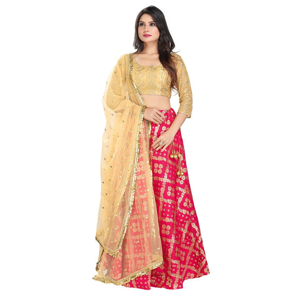 Divine Pink and Gold Trendy Crop Top Style Lehenga - 9100