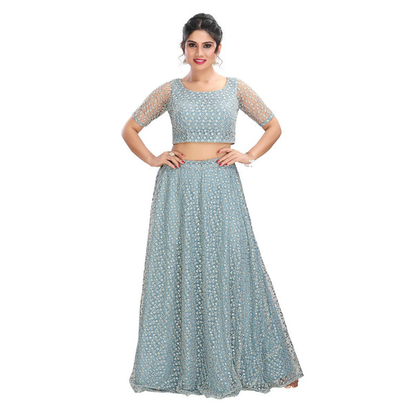 Stargazer Sparkly Pale Blue Trendy Crop Top Style Lehenga - 9101