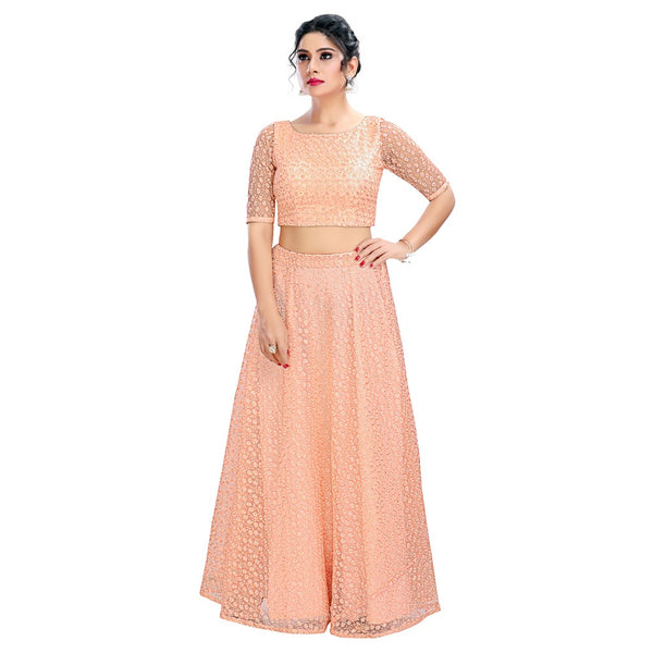 Imperfectly Perfect Peach Trendy Crop Top Style Lehenga - 9102