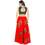 Green and Red with floral crop top style lehenga rent or buy