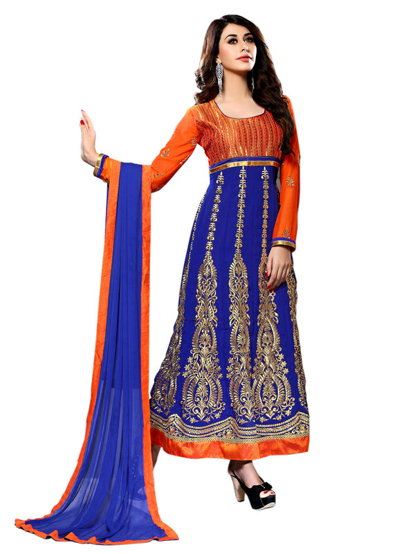 Beautiful Orange and Blue Anarkali Churidar