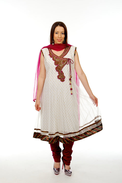 Trina White Net Anarkali
