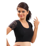Designer Indian Black Lycra Non-Padded Stretchable Half Sleeves Saree Blouse Crop Top (A-11)