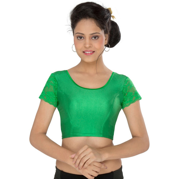 Designer Indian Green Lycra Non-Padded Stretchable Half Sleeves Saree Blouse Crop Top (A-11)