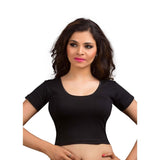 Black Cotton Lycra Stretchable Ready-made Saree Blouse Choli