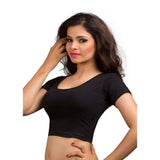 Designer Indian Black Cotton Lycra Non-Padded Stretchable Half Sleeves Saree Blouse Crop Top (A-14)