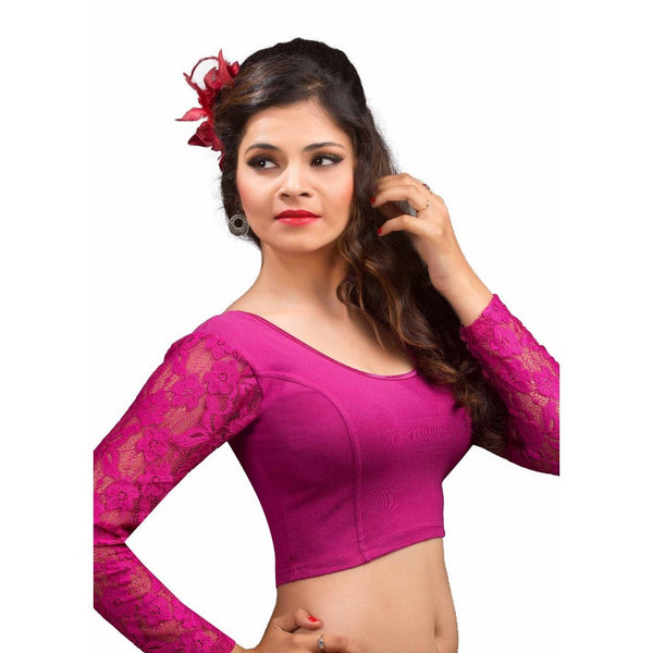 Magenta Designer Cotton Lycra Long Sleeves Stretchable Saree Blouse SNT-A-16-SL