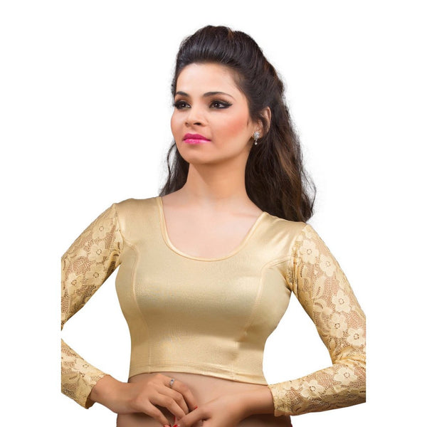 Gold Shimmer Lace Long Sleeve Stretchable Ready-made Saree Blouse