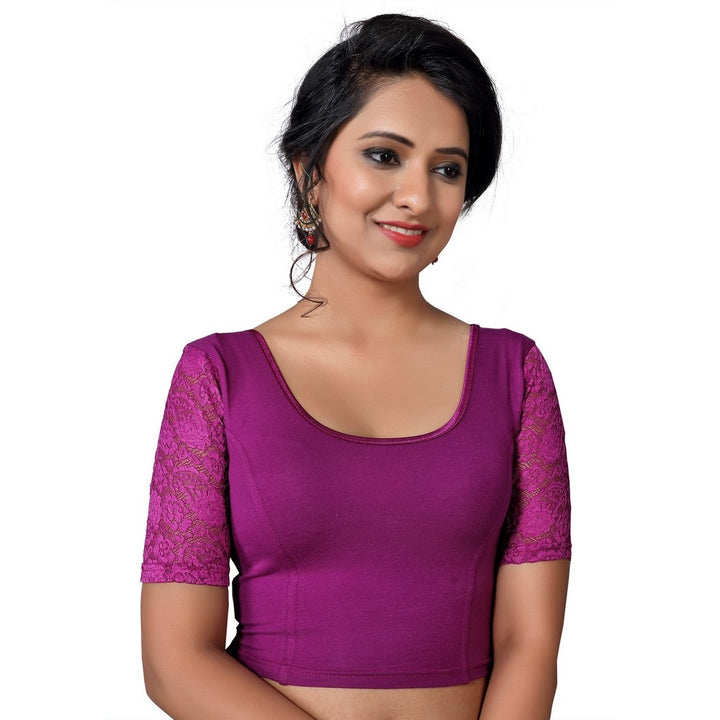 Designer Indian Magenta Cotton Lycra Non-Padded Stretchable Elbow Length Sleeves Saree Blouse Crop Top (A-26)