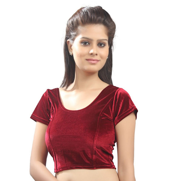 Maroon Velvet Chic Ready-made Saree Blouse A-9