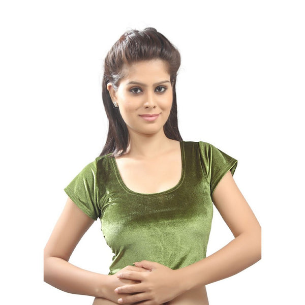 Mehendi Colored Velvet Chic Ready-made Saree Blouse A-9