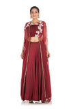 Hand Embroidered Wine Lehenga With Attached Jacket Style Cape