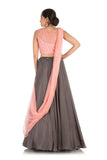Hand Embroidered Charcoal Grey Lehenga With Light Pink Blouse
