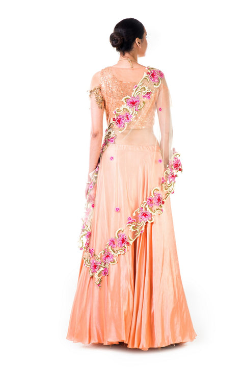Peach Sequins Work Embroidered Blouse And Peach Lehenga With Thread Work Embroidery