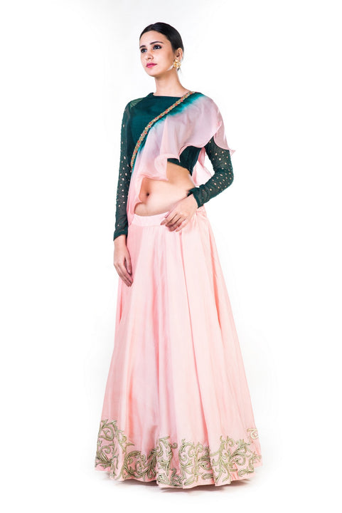 Hand Embroidered Bottle Green & Blush Pink Lehenga With A Shaded Frill Dupatta
