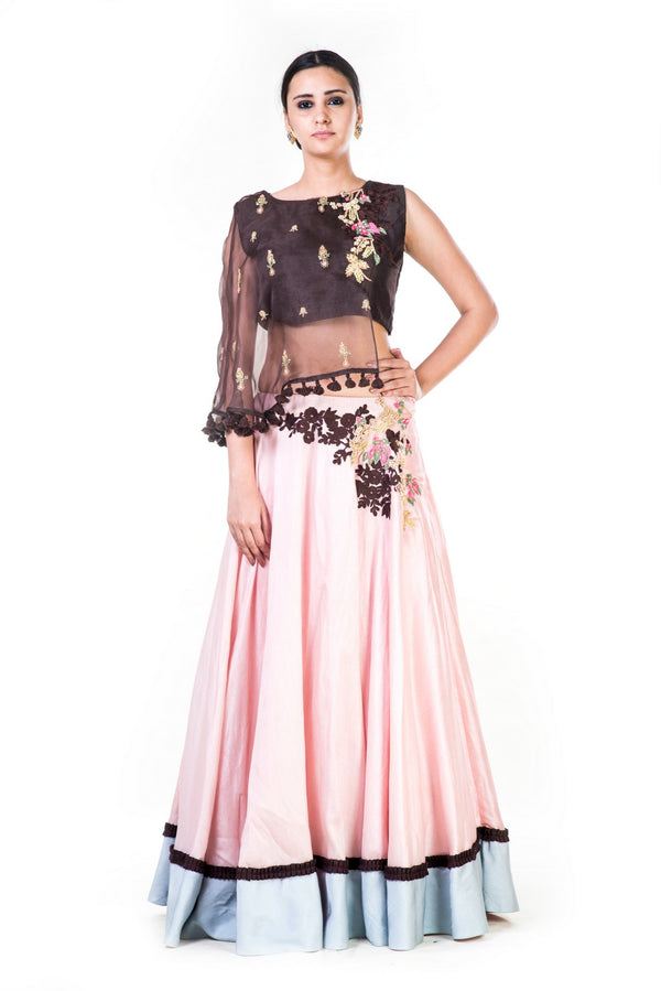 Hand Embroidered Brown & Blush Pink Asymmetrical Cape Lehenga