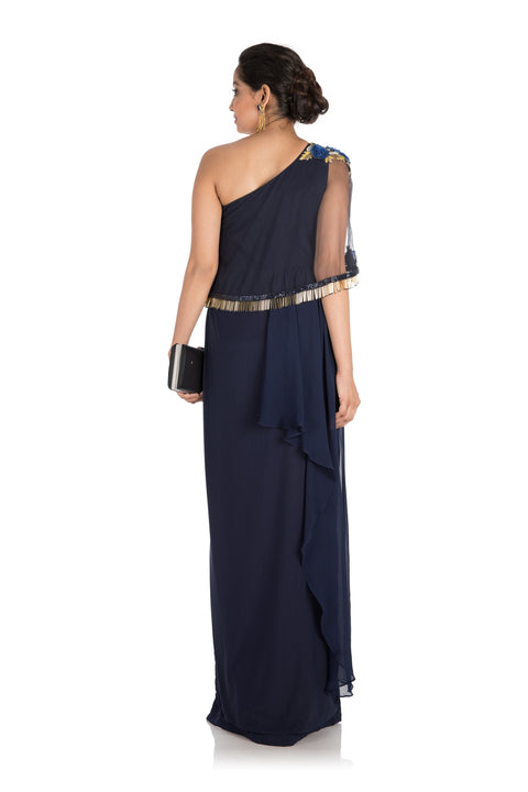 Hand Embroidered Midnight Blue Pleated Dress