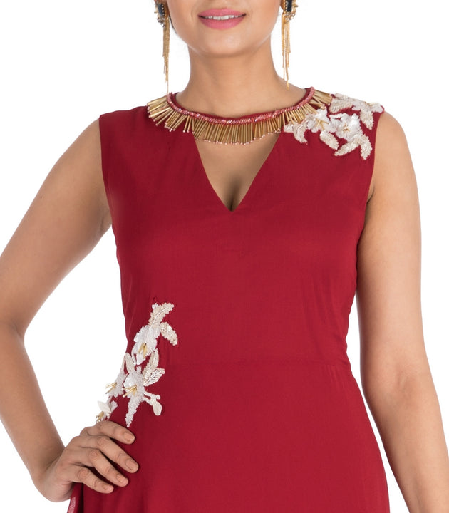 Hand Embroidered Crimson Red Long Dress
