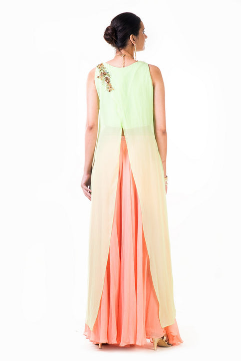 Embroidered Lime Green Overlapped Crop Top With Peach Palazzo Pant