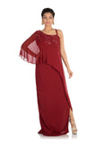 Hand Embroidered Wine colorOne Sided Cape Dress