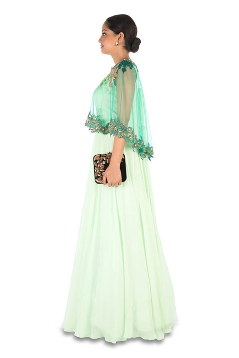 Hand Embroidered Sea Green Flare Gown With Dark Green Cape