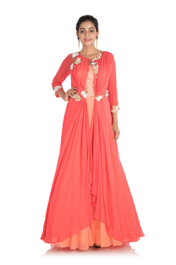 Hand Embroidered Bright Coral And Peach Layered Dress