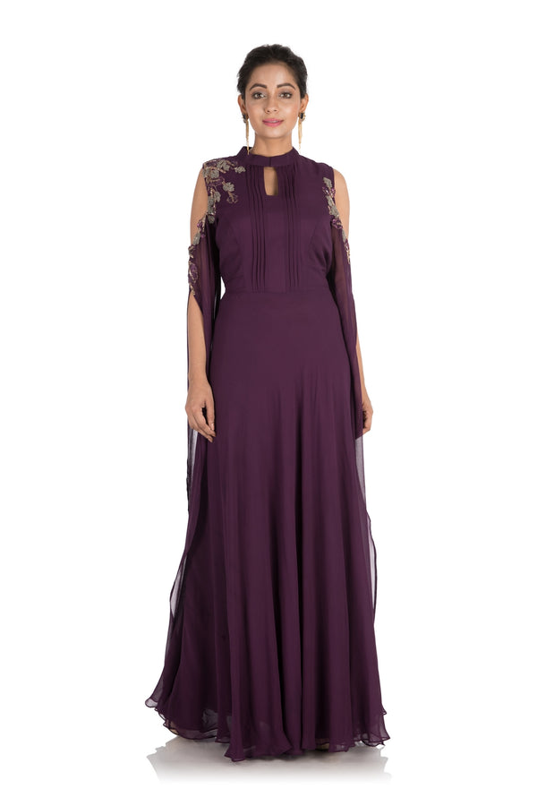 Hand Embroidered Plum colorCold Shoulder Dress With Long Sleeves