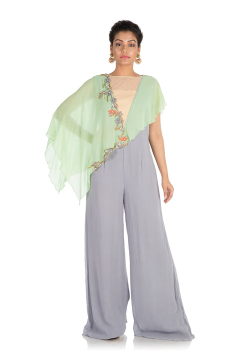 Hand Embroidered Green Grey Jumpsuit