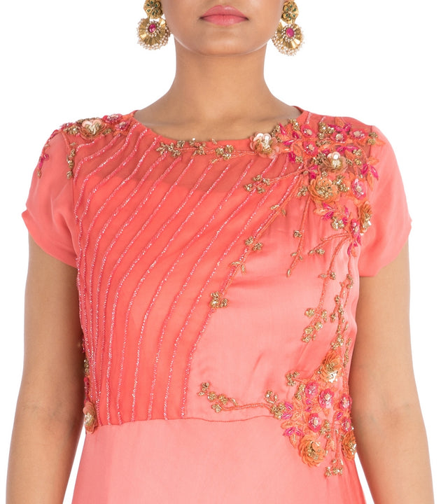 Hand Embroidered Bright Blush Pink Dress